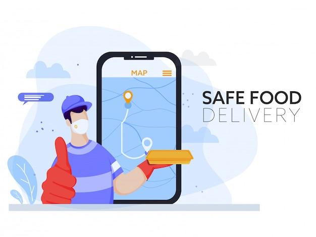 Uomo del corriere indossa la maschera protettiva con la cassetta dei pacchi e l'app di monitoraggio della posizione online in smartphone per il concetto di consegna sicura del cibo.