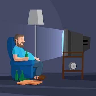 Uomo del fumetto che guarda tv con la bottiglia dell'illustrazione di vettore della birra