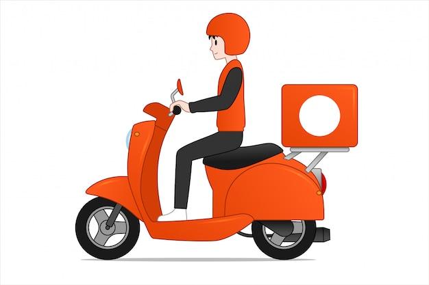 Uomo del fumetto che guida il disegno del fumetto di scooter.