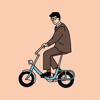 Uomo del fumetto che guida una bicicletta