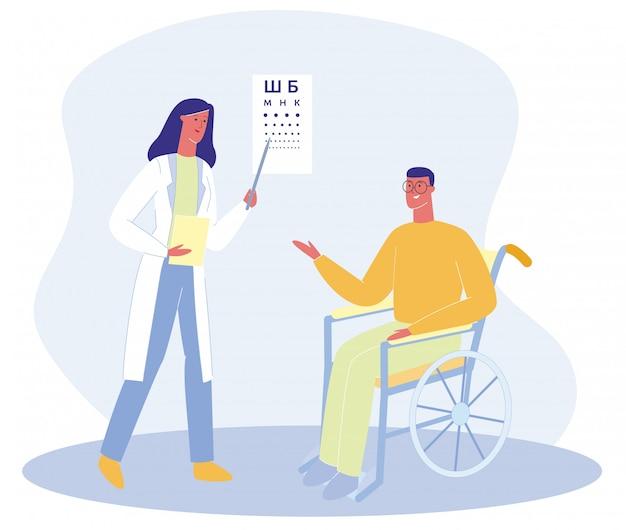 Uomo del fumetto in sedia a rotelle parla con donna medico