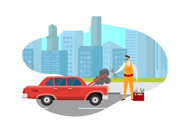 Uomo del meccanico che sembra automobile rotta sulla strada in città.