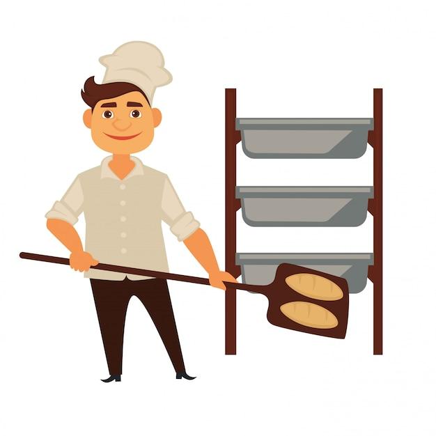 Uomo del panettiere nell'icona isolata della gente di professione del panettiere di vettore del pane di cottura del negozio del forno