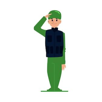 Uomo del soldato o ufficiale in uniforme militare nell'illustrazione del fumetto di stile su fondo bianco. saluto del personaggio dei cartoni animati maschio professionale dell'esercito.
