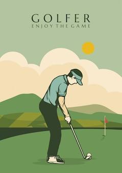 Uomo dell'illustrazione di progettazione del manifesto del giocatore di golf nel retro d'annata del campo