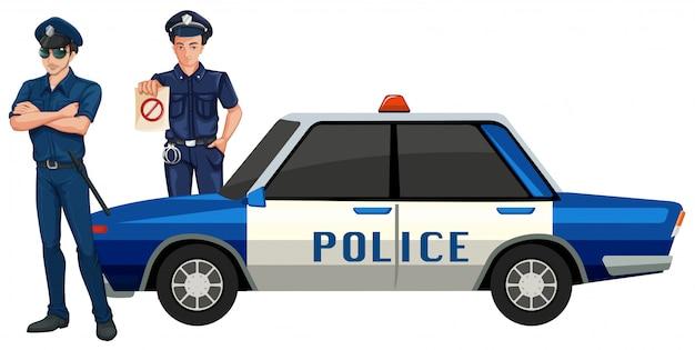 Uomo della polizia con l'auto