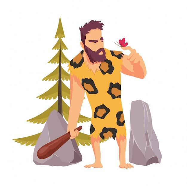 Uomo delle caverne con un bastone di legno che guarda la farfalla vestita di pelle di leopardo
