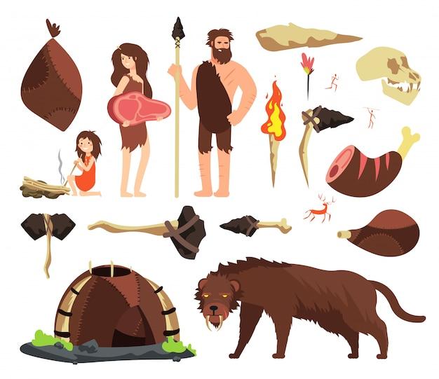 Uomo delle caverne dell'età della pietra. caccia al neolitico, strumenti mammut e preistorici.