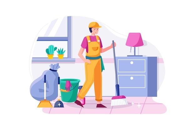 Uomo delle pulizie che tiene la scopa soddisfatto della casa pulita