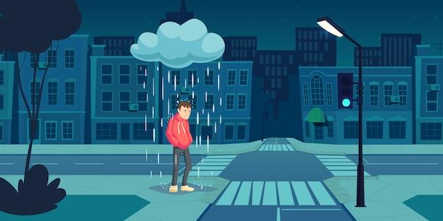Uomo depresso stare sotto la nuvola con la pioggia che cade