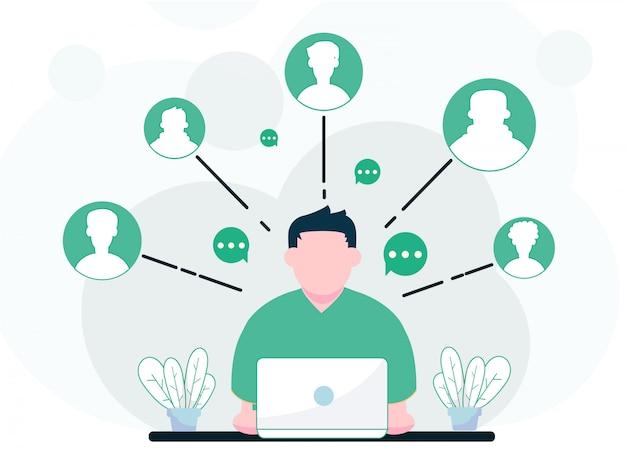 Uomo di affari che affronta un'illustrazione del computer portatile