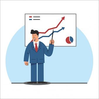 Uomo di affari che fa l'illustrazione di vettore di presentazione di affari