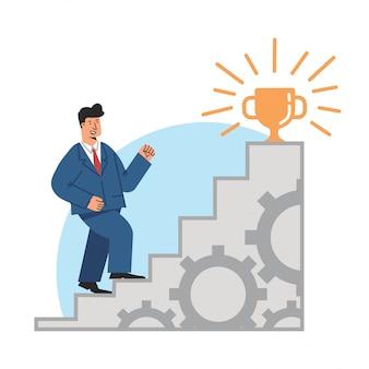 Uomo di affari che fa un passo sulle scale