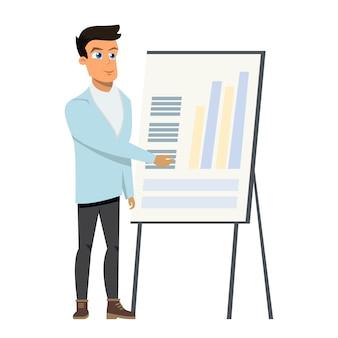 Uomo di affari che indica il diagramma del diagramma sulla lavagna