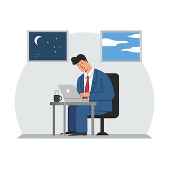 Uomo di affari che lavora con l'illustrazione del computer portatile