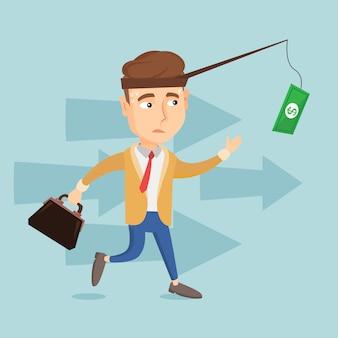 Uomo di affari che prova a catturare soldi sulla canna da pesca
