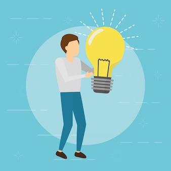 Uomo di affari che tiene lampadina. concetto di creatività, stile piatto
