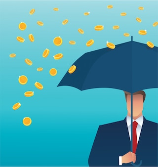 Uomo di affari che tiene un ombrello, soldi che cadono dal cielo