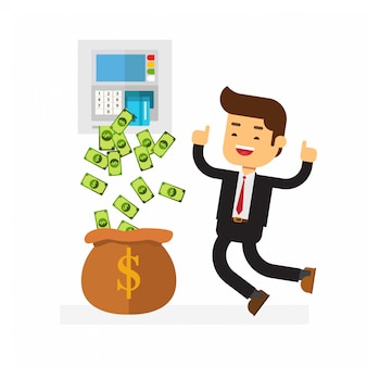 Uomo di affari con i soldi dell'illustrazione dal bancomat