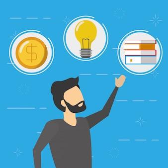 Uomo di affari con le icone dei soldi, della lampadina e dei libri, stile piano