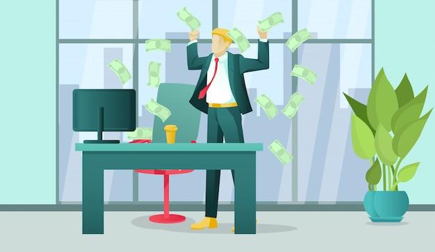 Uomo di affari finanziariamente riuscito in ufficio