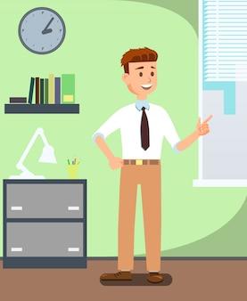 Uomo di affari in ufficio che indossa vestiti convenzionali.