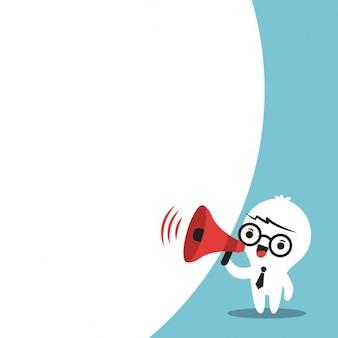 Uomo di affari sul megafono fare un annuncio con fumetto