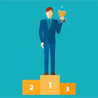 Uomo di affari sul podio che tiene un'illustrazione piana di vettore della tazza dell'oro