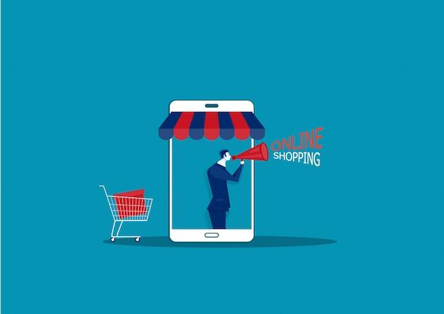 Uomo di affari sullo smartphone con l'illustrazione online di presentazione della pubblicità di promozione del negozio di internet del negozio online.
