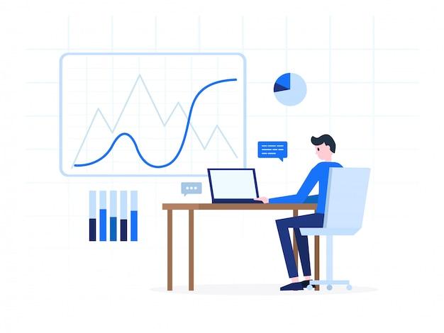 Uomo di cartone animato che lavora con il computer portatile