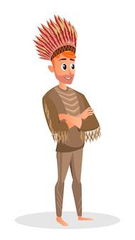 Uomo di cartone animato in costume nativo americano copricapo