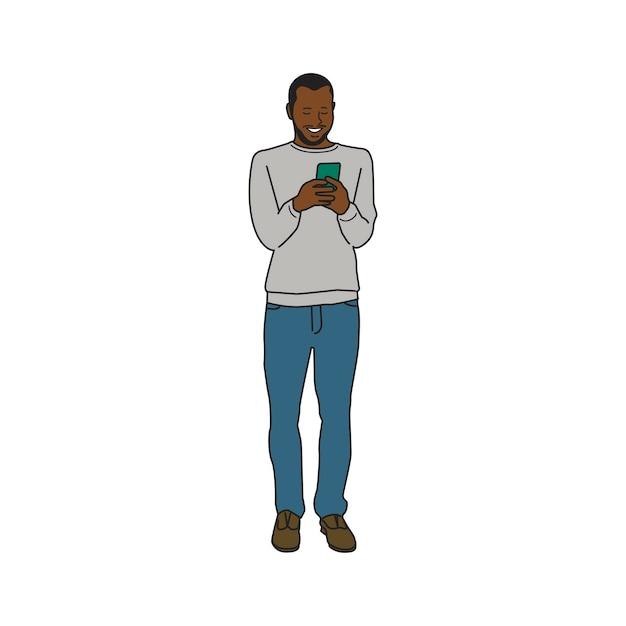 Uomo di colore illustrato che per mezzo del telefono cellulare