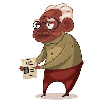 Uomo di colore più anziano in vetri con un giornale nella sua illustrazione delle mani