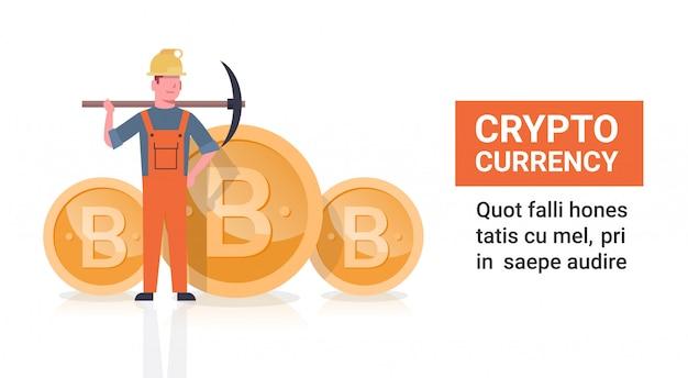 Uomo di concetto di estrazione mineraria di bitcoin che tiene la rete a monete moderna di crypto delle monete del bit dorato di piccone