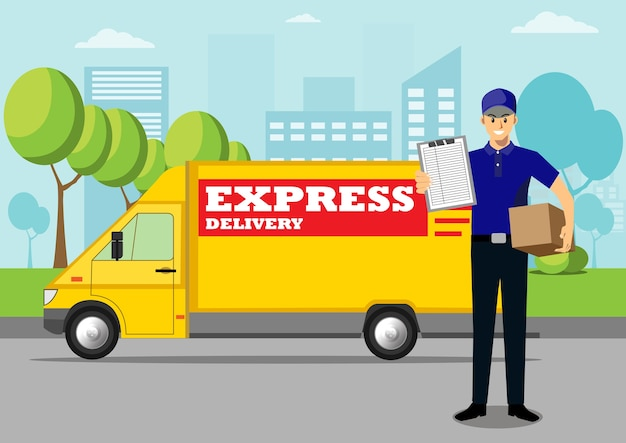 Uomo di consegna che consegna cassetta dei pacchi.
