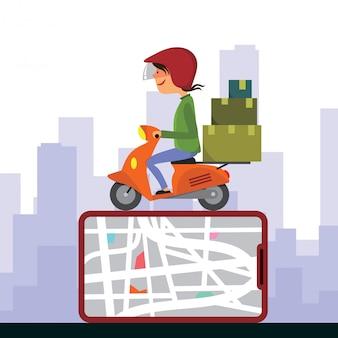 Uomo di consegna che guida un'illustrazione di vettore del motorino