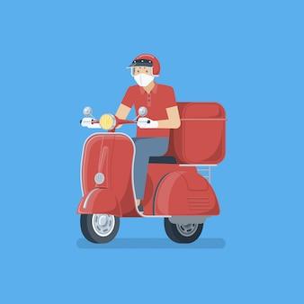 Uomo di consegna che indossa una maschera medica, guanti di gomma in sella a scooter retrò rosso in stile piano