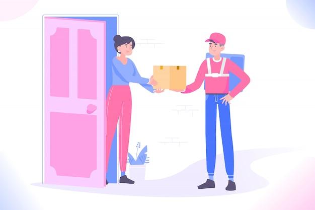 Uomo di consegna consegna pacchetto a destinazione