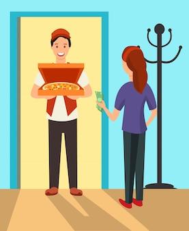 Uomo di consegna della pizza ai caratteri piani della porta