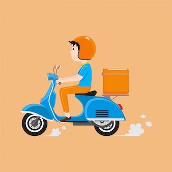 Uomo di consegna in sella a scooter con scatola di consegna.