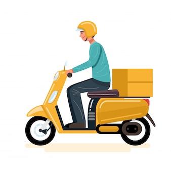 Uomo di consegna in sella a uno scooter consegna cibo.