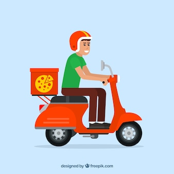 Uomo di consegna pizza con scooter e casco