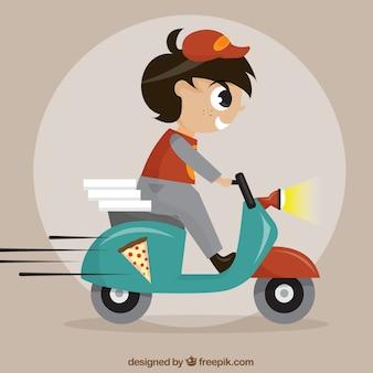 Uomo di consegna pizza su scooter