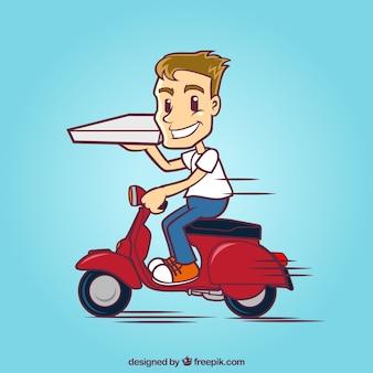Uomo di consegna su scooter con scatola di pizza