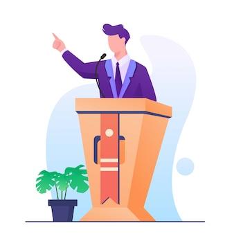 Uomo di discorso sull'illustrazione del podio