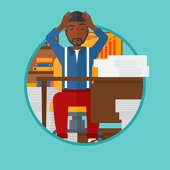 Uomo di disperazione che si siede nell'illustrazione di vettore dell'ufficio.
