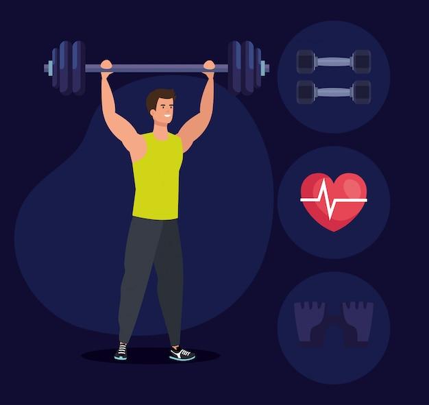 Uomo di forma fisica con peso ed esercizio fisico sano