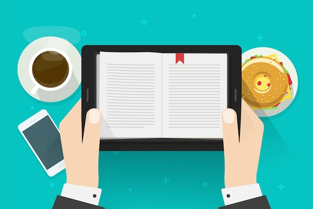 Uomo di lettura di libri digitali, lettore di notebook elettronico su tablet pc in mano di persona