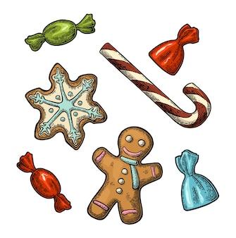 Uomo di pan di zenzero, stella, illustrazione dell'incisione del bastoncino di zucchero.