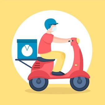 Uomo di servizio di consegna su scooter